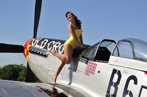 Beautiful 1940 S Style Pin Up Girl Posing With A P 51