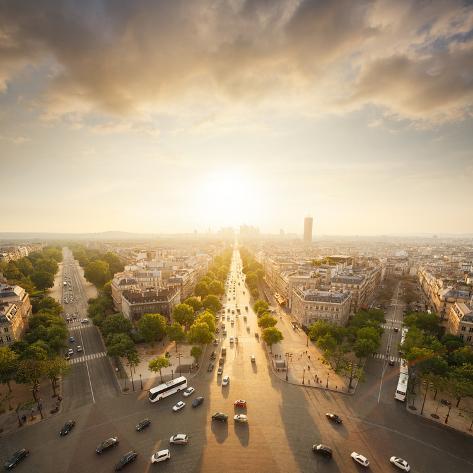Paris View from Arc De Trimphe Photographic Print