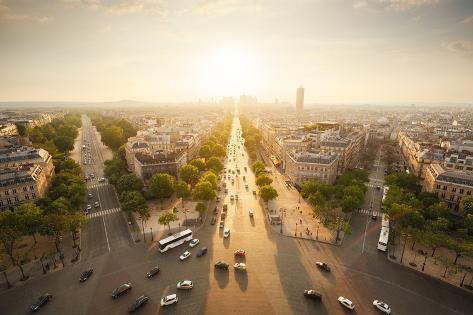 Paris View from Arc De Triomphe Photographic Print