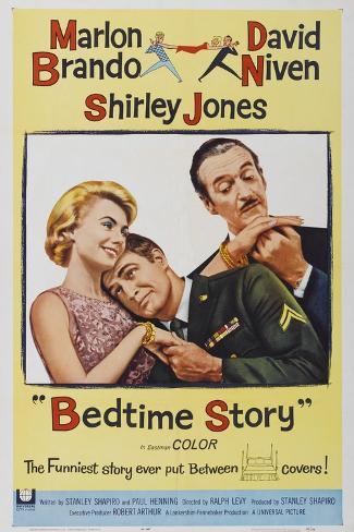 Bed Time Story, US poster, Shirley Jones, Marlon Brando, David Niven, 1964 Art Print