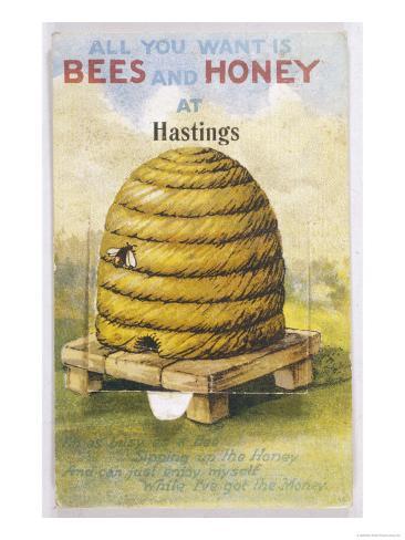 Beehive and One Bee Giclee Print