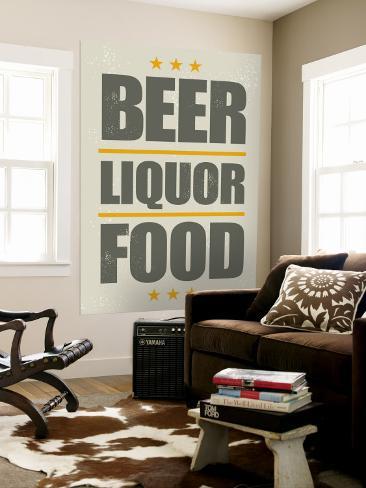 Beer, Liquor, Food Seinämaalaus