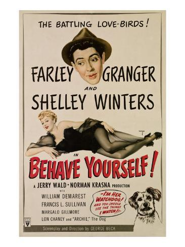 Behave Yourself!, Farley Granger, Shelley Winters, 1951 Photo