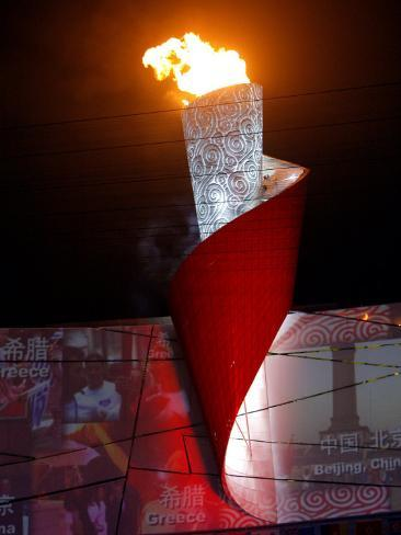Beijing Olympics Opening Ceremony, Olympic Torch Burning, Beijing, China Photographic Print