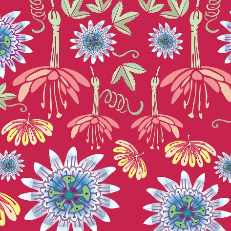 Flowers, Passion Flower Color Giclee Print