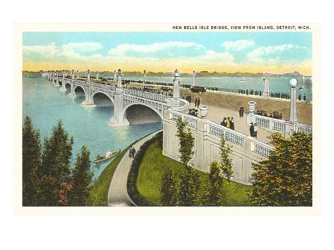 Belle Isle Bridge, Detroit, Michigan Art Print