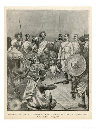 The Meeting of Menelik One of Ethiopia's Greatest Emperors with Major Salsa of the Italian Envoy Giclee Print