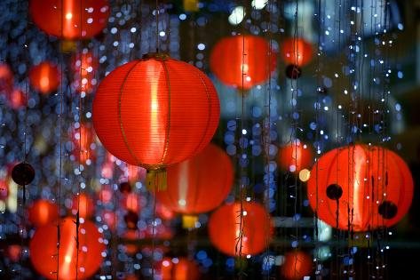 Chinese Paper Lantern Shallow Depth of Field Photographic Print