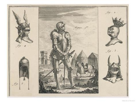 15th Century French Soldier with Full Armour and Various Helmets Giclee Print