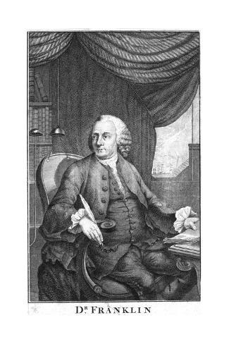 Benjamin Franklin, American Scientist, Inventor and Statesman, Late 18th Century Giclee Print
