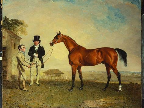 Skiff, a Bay Racehorse Held by a Groom on Newmarket Heath, with John Howe Giclee Print