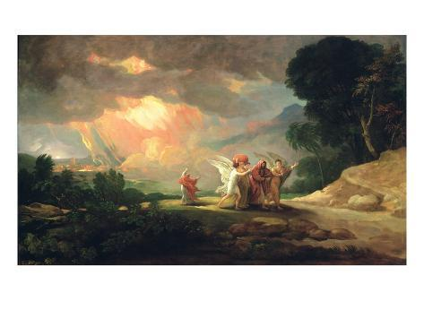 Lot Fleeing from Sodom, 1810 (Oil on Panel) Giclée-vedos
