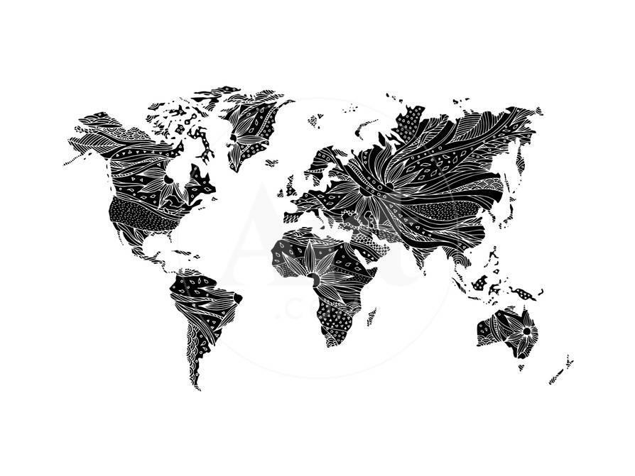 World Map Hand Drawn Flower Floral Design Poster by benjavisa at ...