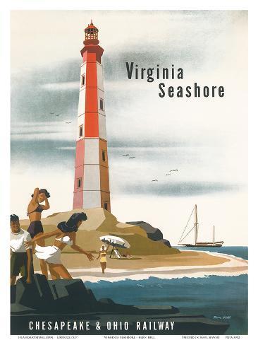 Chesapeake & Ohio Railroad: Virginia Seashore, c.1950s Art Print