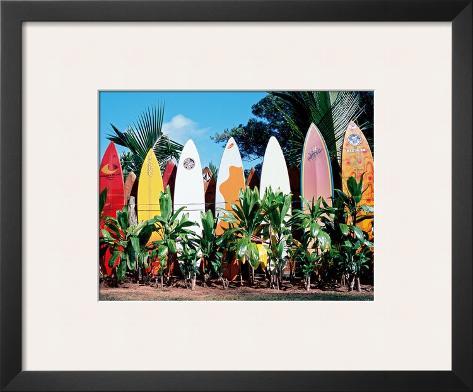 Old Surfboards Never Die, Hawaii Framed Giclee Print