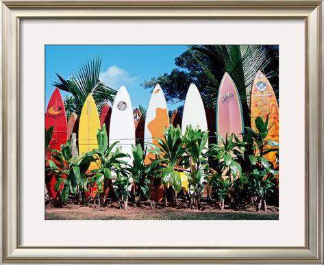Old Surfboards Never Die Framed Giclee Print