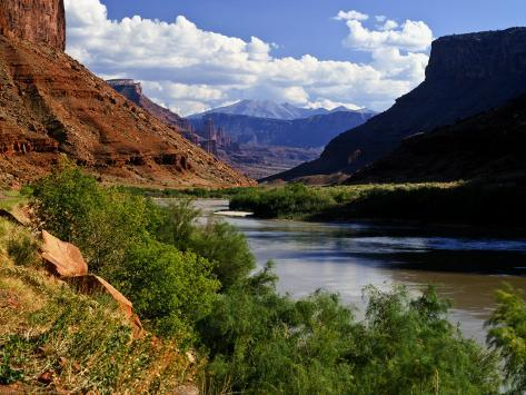 River Valley With View of Fisher Towers and La Sal Mountains, Utah, USA Photographic Print