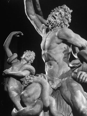 Detail of Laocoon Statue on Display in Museum Photographic Print