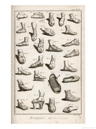 Selection of Ancient and Not So Ancient Footwear Including Various Styles of Sandal Giclee Print