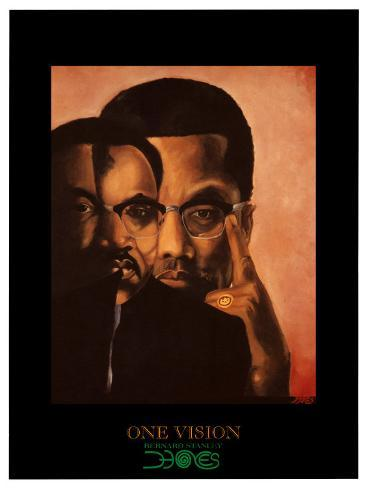 One Vision, Malcolm X and Martin Luther King Jr. Art Print