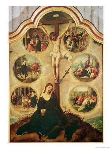 Central Panel of a Triptych Depicting the Seven Sorrows of the Virgin, c.1520-35 Lámina giclée
