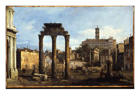 Rome - the Forum with the Temple of Castor and Pollux, C.1742-43 Lámina giclée