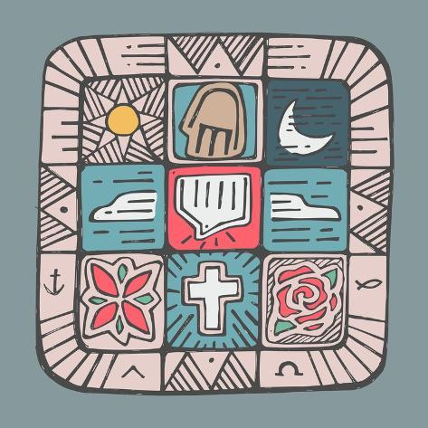 Mosaic Design With Different Religious Catholic Symbols Poster By