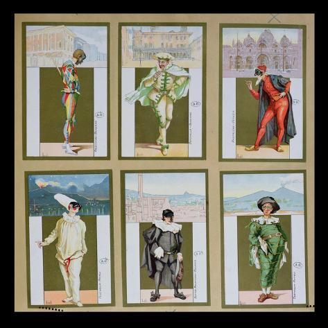 Set of Six Vignettes Depicting Characters from the Commedia dell'Arte, c.1900 Lámina giclée