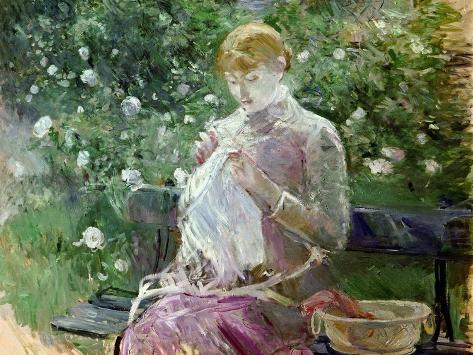 Pasie Sewing in Bougival's Garden, 1881 Impressão giclée