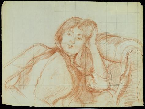 Young Girl Leaning on Her Elbow, 1887 (Red Chalk on Paper) Lámina giclée