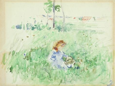 Young Girl Seated on the Lawn, 1882 (W/C on Paper) Lámina giclée