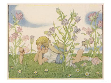 Girl and a Baby Fairy Would You Believe, I Found a Fairy on Midsummer Eve! Giclee Print