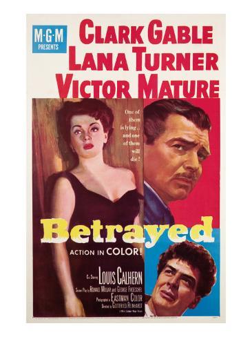 Betrayed, Lana Turner, Clark Gable, Victor Mature, 1954 Fotografía
