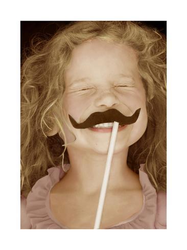 Moustache Girl Impressão artística