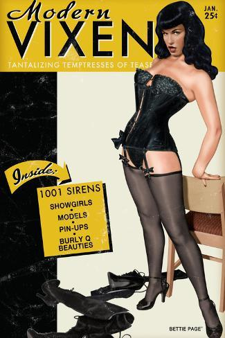 Bettie Page Modern Vixen Pin-Up by Retro-A-Go-Go Poster Poster