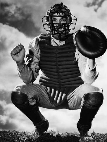 Baseball Catcher Awaiting the Ball Photographic Print