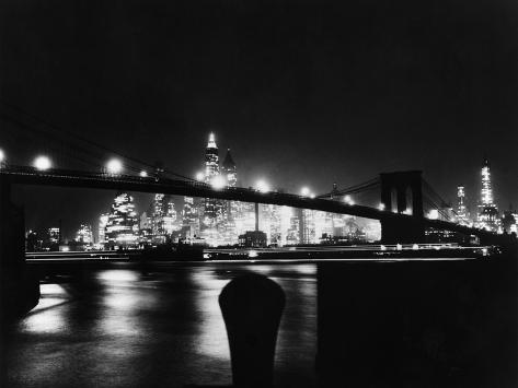 Night View Of Brooklyn Bridge Photographic Print