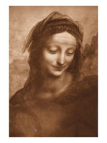 Portrait of St. Anne by Leonardo da Vinci Lámina giclée