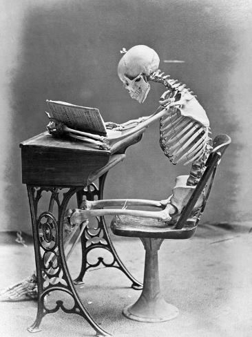 Skeleton Reading at Desk Photographic Print