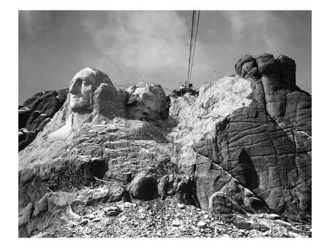 View of Mount Rushmore in Progress Giclee Print