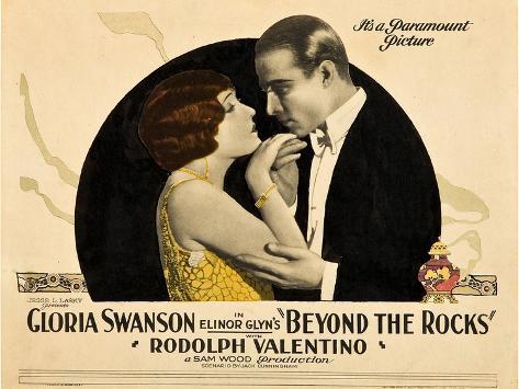 BEYOND THE ROCKS, l-r: Gloria Swanson, Rudolph Valentino on lobbycard, 1922. Art Print