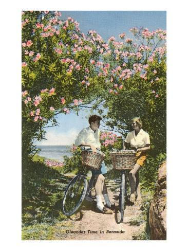 Bicyclists with Oleanders, Bermuda Art Print