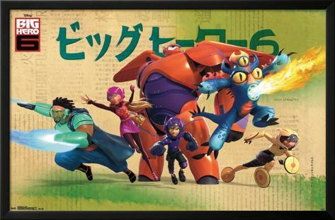 Big Hero 6 - Group Lamina Framed Poster