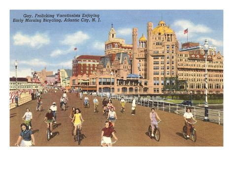 Bikes on Boardwalk, Atlantic City, New Jersey Art Print