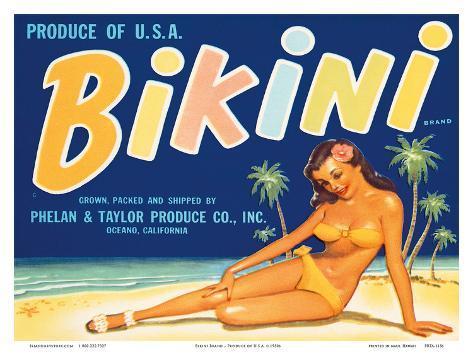 Bikini Brand - Produce of U.S.A. Stampa artistica