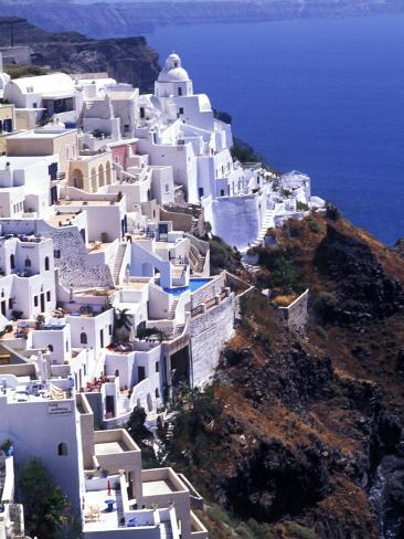 White Buildings in Oia Santorini, Athens, Greece Photographic Print