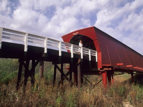 Woman on Roseman Bridge, Madison County, Iowa, USA Photographic Print