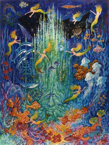 Neptune and the Mermaids Giclee Print