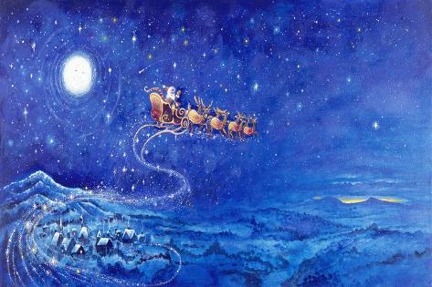 Santa in Night Sky over Winter Village in Sleigh Pulled by Reindeer Giclee Print