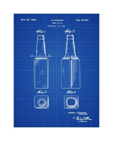 Beer bottle 1934 blueprint giclee print by bill cannon allposters beer bottle 1934 blueprint malvernweather Images